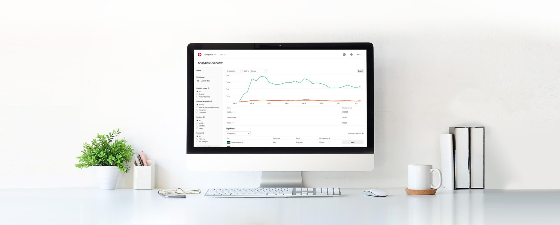 Background image showing Pinterest Analytics page